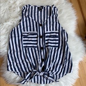A.n.a Blue and White Sleeveless Blouse.